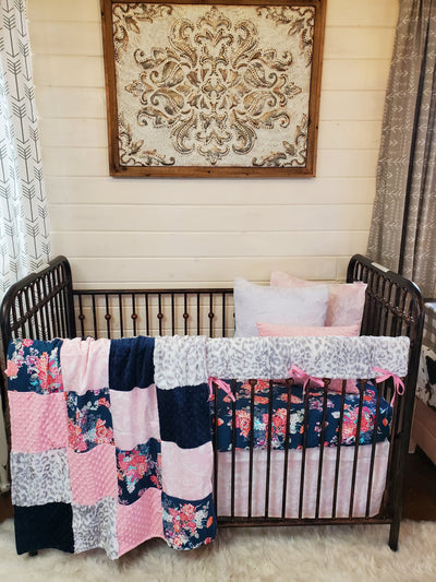 Ready to Ship Girl Crib Bedding- Navy Floral and Silver Jaguar Minky Collection