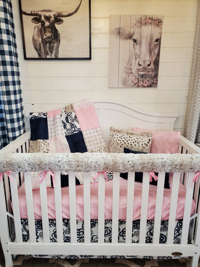Ready to Ship Girl Crib Bedding- Navy Roses and Lynx Minky Floral Collection