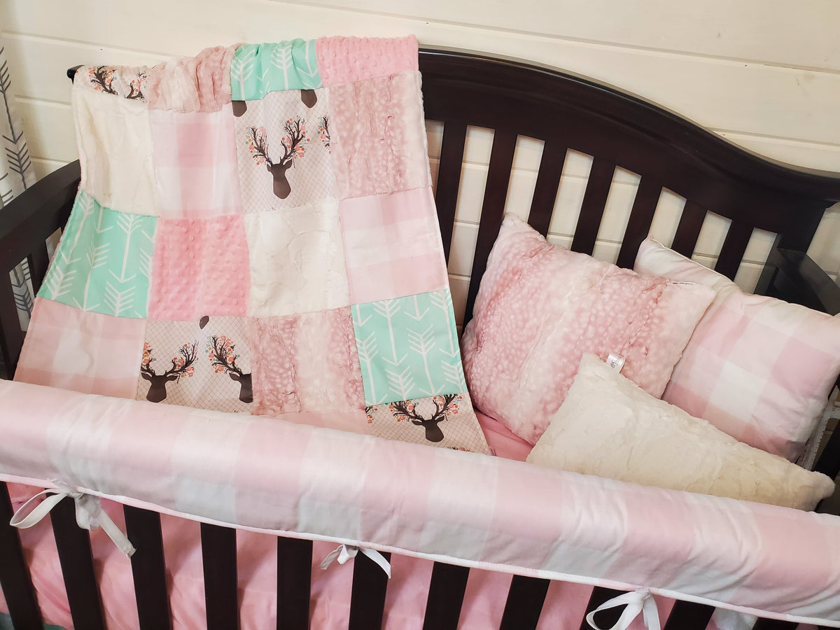 Custom Girl Crib Bedding- Tulip Fawn and Rosewater Fawn Minky Collection
