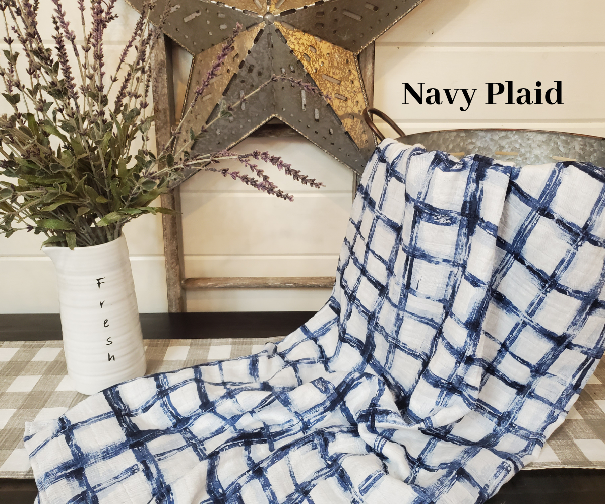 Swaddle Blanket- Navy Plaid Guaze Swaddle