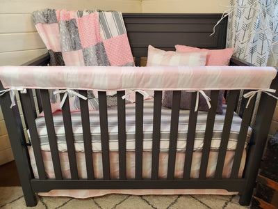 Ready to Ship Girl Crib Bedding- Farmhouse with Gray Stripe Collection