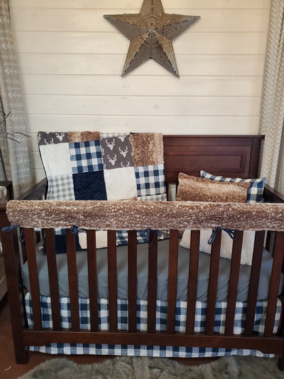 Ready to Ship Boy Crib Bedding- Gray Buck and Navy Denim Check Woodland Collection