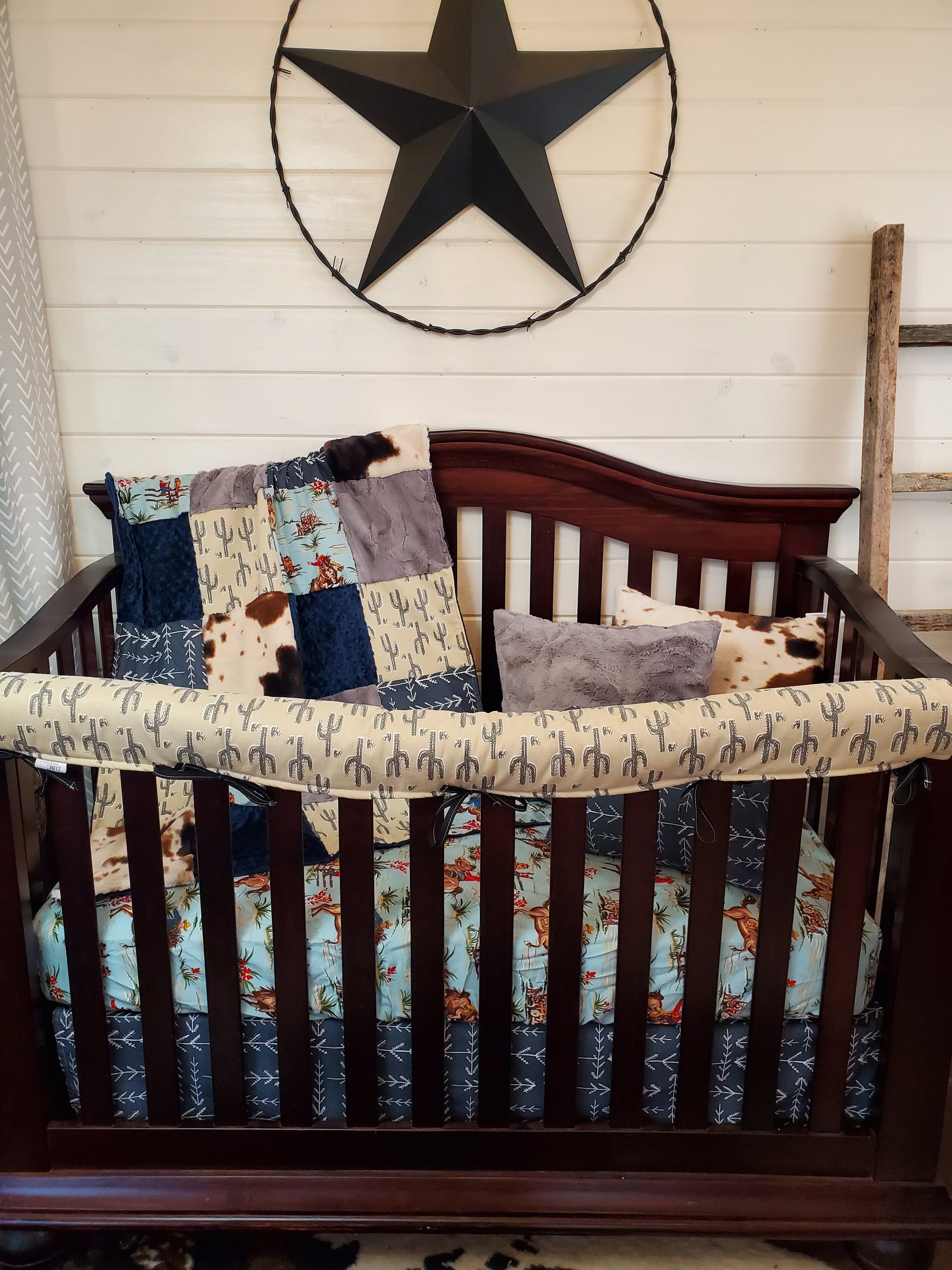 Quick Ship Boy Crib Bedding- Barn Dandy and Cactus Collection