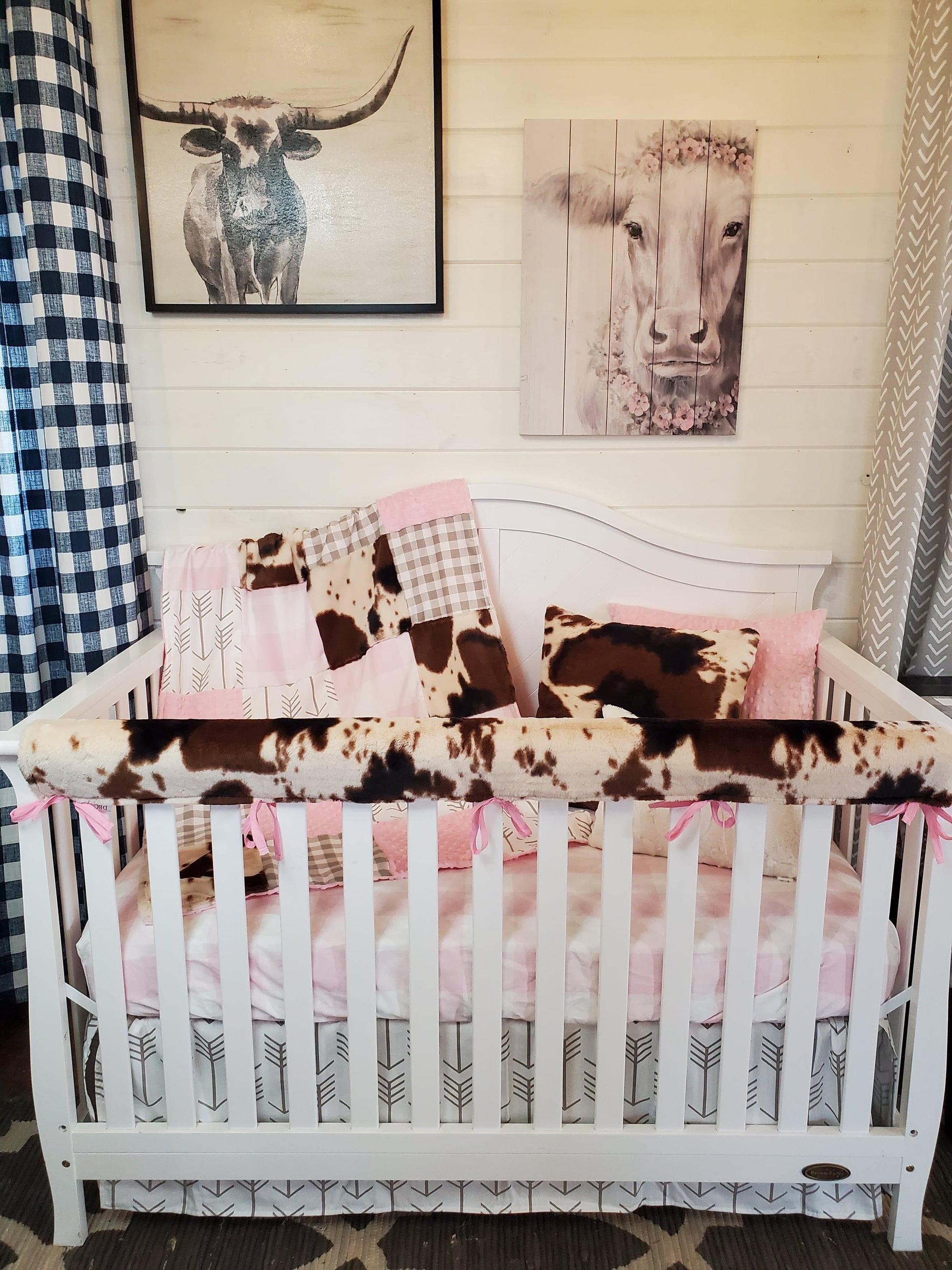 Ready to Ship Girl Crib Bedding- Farmhouse and Cow Minky Collection