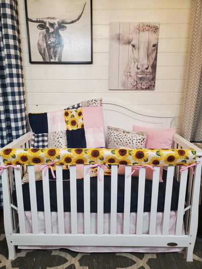 Ready to Ship Girl Crib Bedding- Sunflower and Lynx Minky Farm Collection