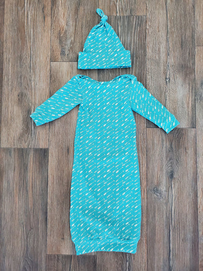 Baby Gown - Adventure Arrows in Teal