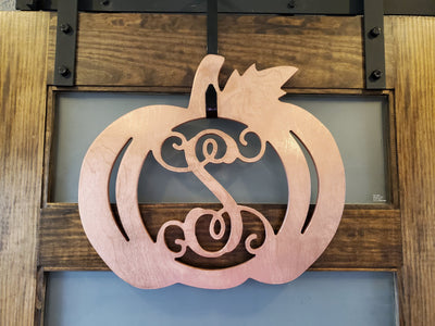 Home Decor - Cooper Metallic Pumpkin Monogram Wood Decor