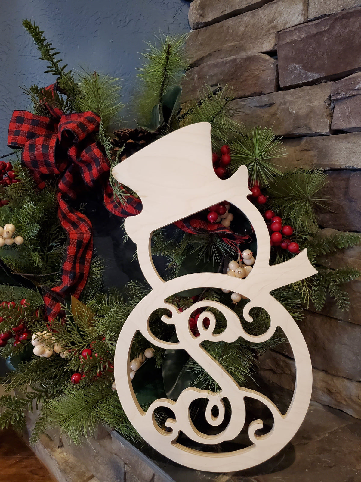 Home Decor - Snowman Monogram Wood Decor