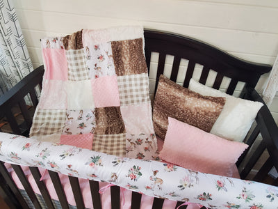Ready to Ship Girl Crib Bedding- Floral Fawn Woodland Collection