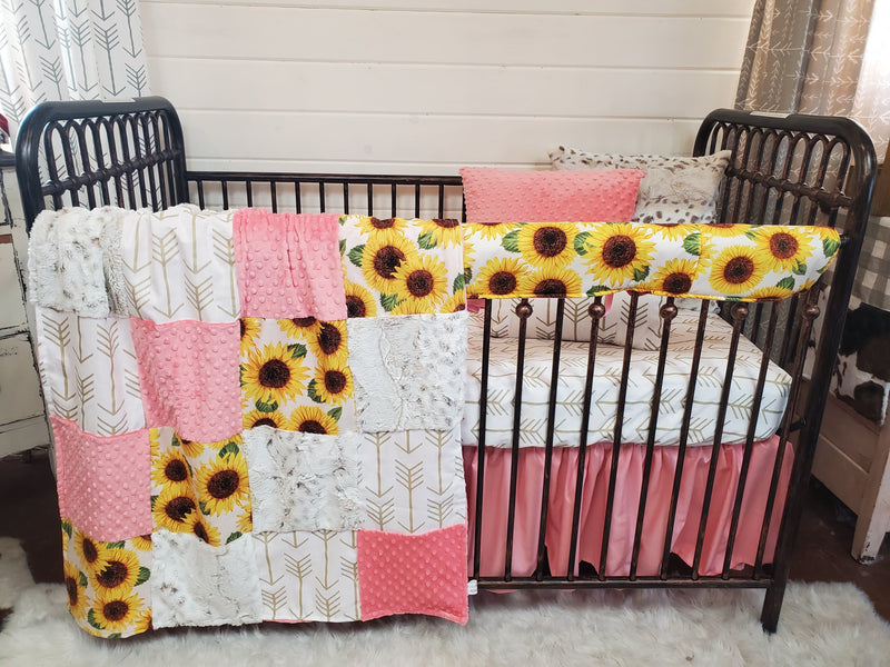 Ready to Ship Girl Crib Bedding- Sunflower Collection