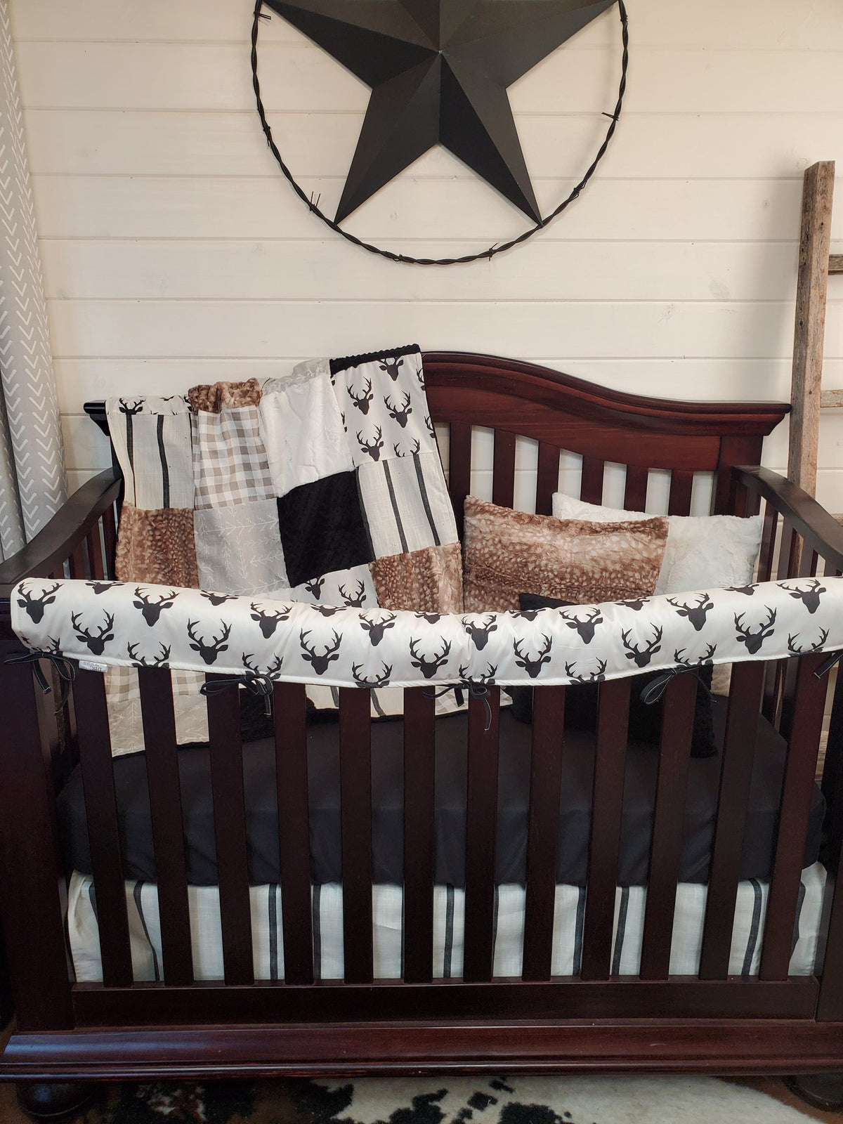 Ready to Ship Boy Crib Bedding- Buck and Stripe Woodland Collection