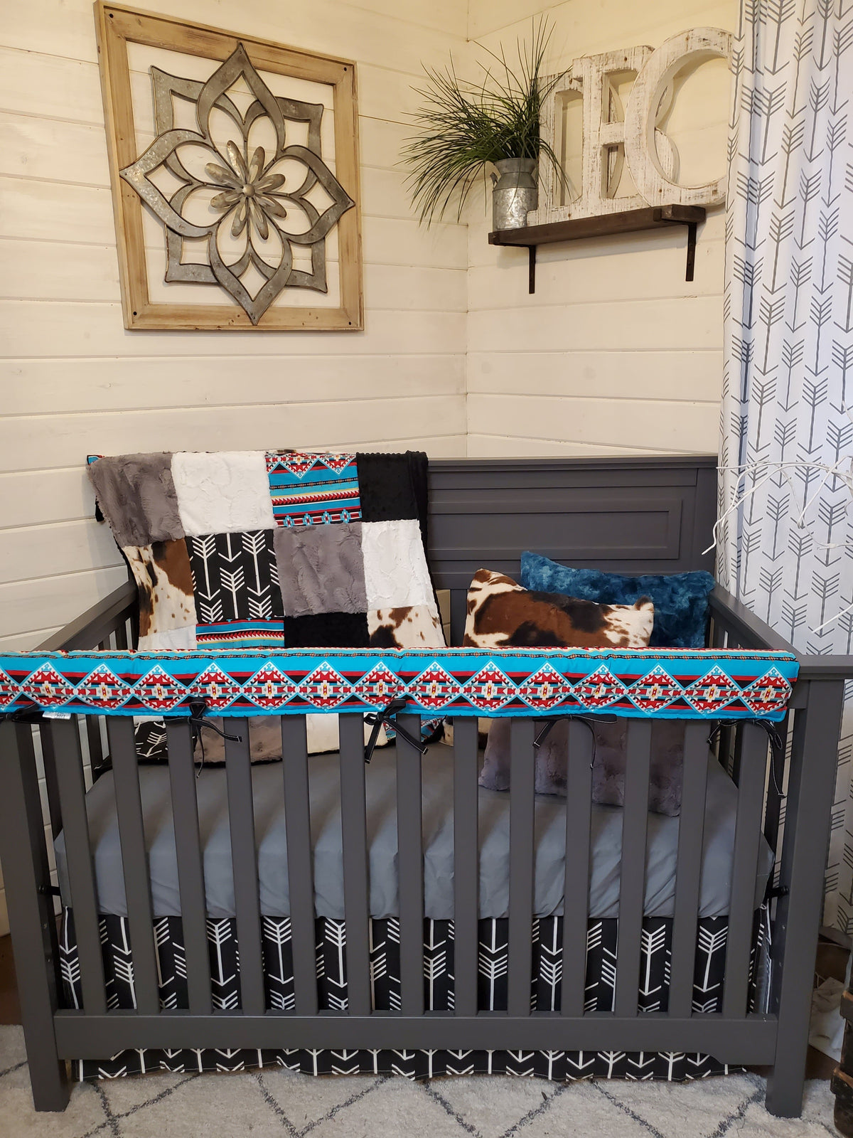 Ready to Ship Boy Crib Bedding- Teal Aztec and Black Arrow Ranch Collection