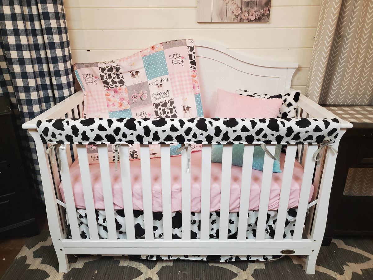 Labor Day Girl Crib Bedding - Blush Mint Cows Come Home 4pc Bedding Set