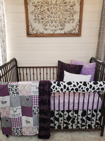 Custom Girl Crib Bedding - Plum Cows Come Home