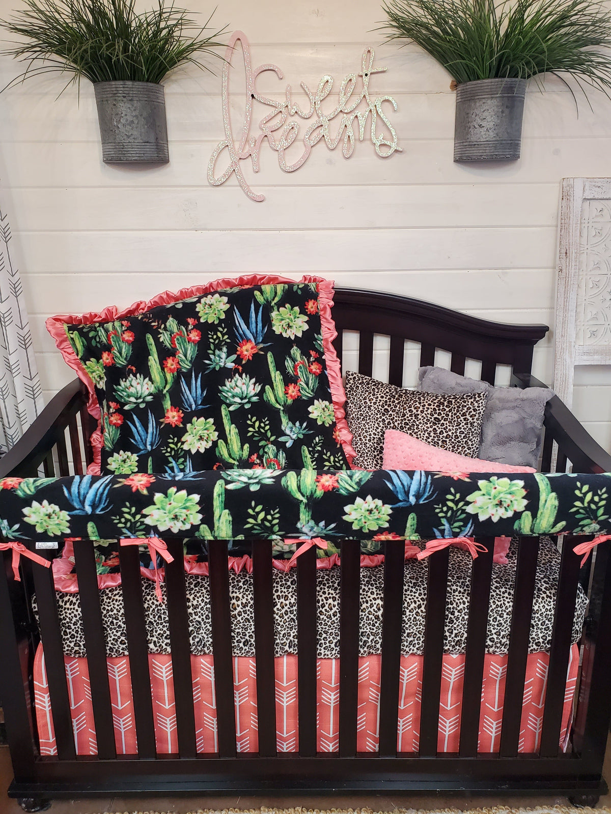 Ready to Ship Girl Crib Bedding- Cactus and Cheetah Minky Collection