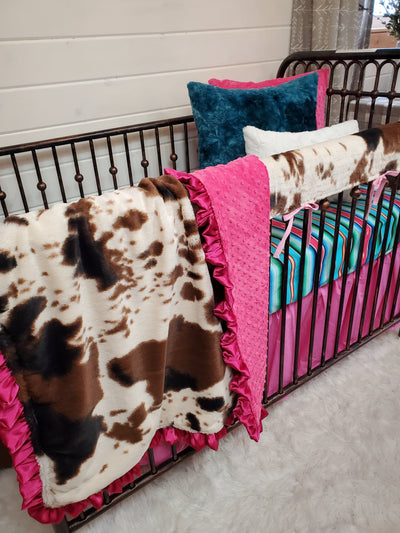 Ready to Ship Girl Crib Bedding- Cow Minky Serape Collection
