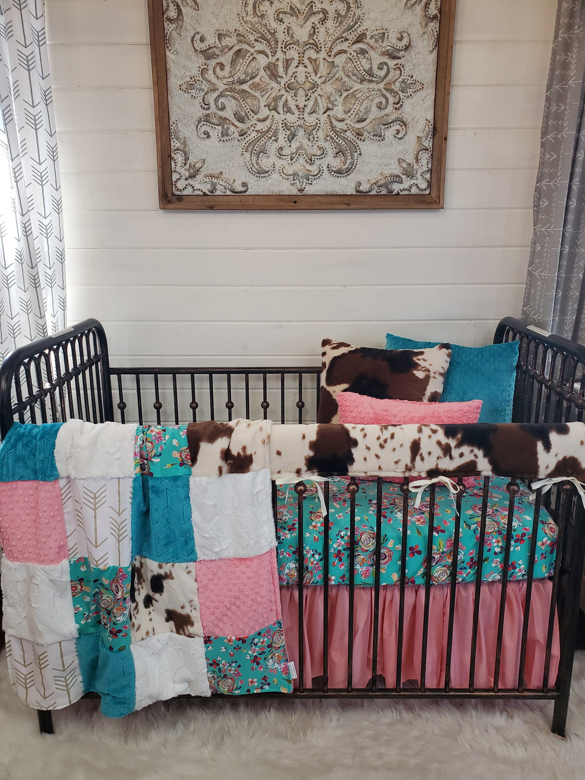 Ready to Ship Girl Crib Bedding- Teal Floral and Cow Minky Farm Collection
