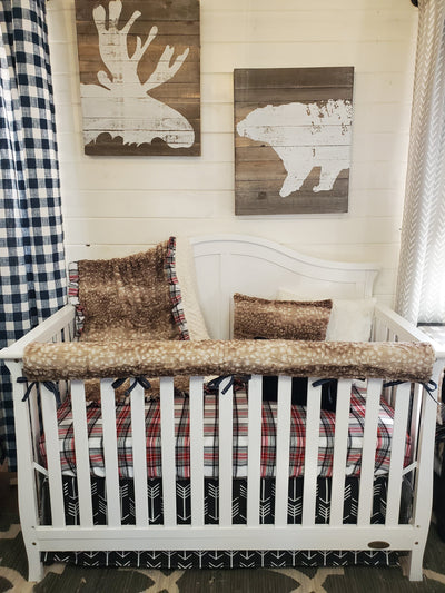Ready to Ship Girl Crib Bedding- Plaid and Fawn Minky Woodland Collection