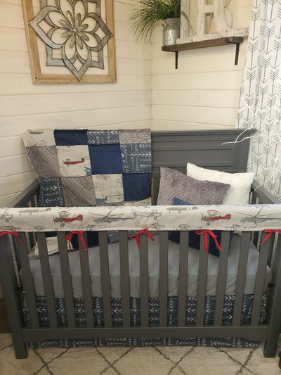 Ready to Ship Boy Crib Bedding- Vintage Airplane Collection