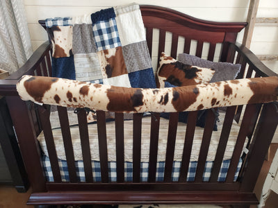 Ready to Ship Boy Crib Bedding- Rustic Wood and Check Farm Collection