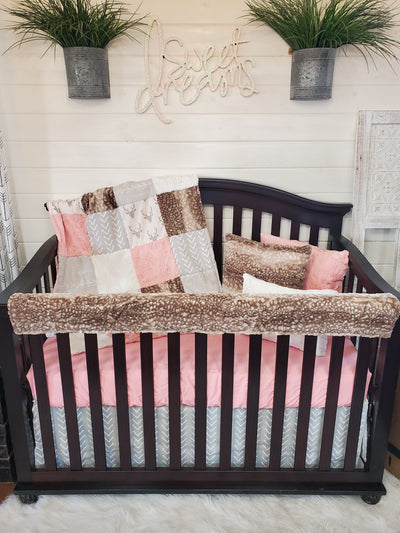 Ready to Ship Girl Crib Bedding- Woodland in Coral Collection