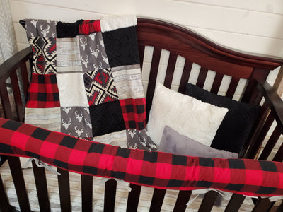 Ready to Ship Boy Crib Bedding- Buck and Aztec Rustic Collection