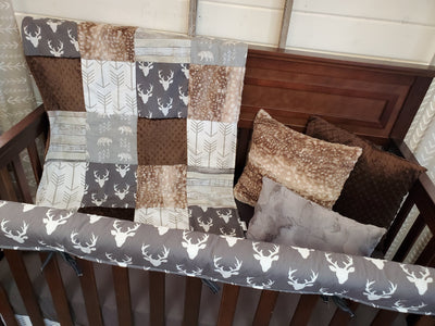 Ready to Ship Boy Crib Bedding- Buck and Bear Rustic Collection