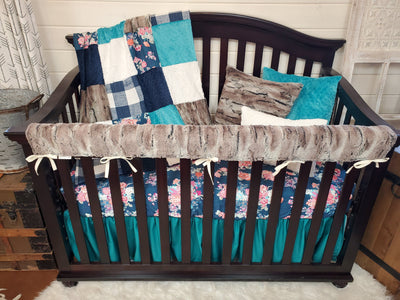 Ready to Ship Girl Crib Bedding- Navy Floral and Mountain Fox Minky Collection