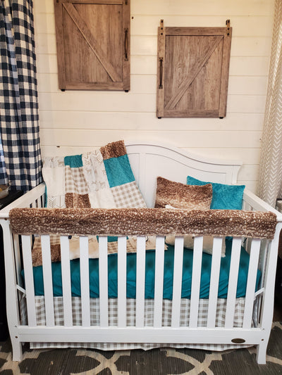 Ready to Ship Neutral Crib Bedding- Deer and Fawn Minky Collection