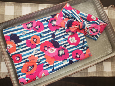 Swaddle Set - Floral Stripe with Headband