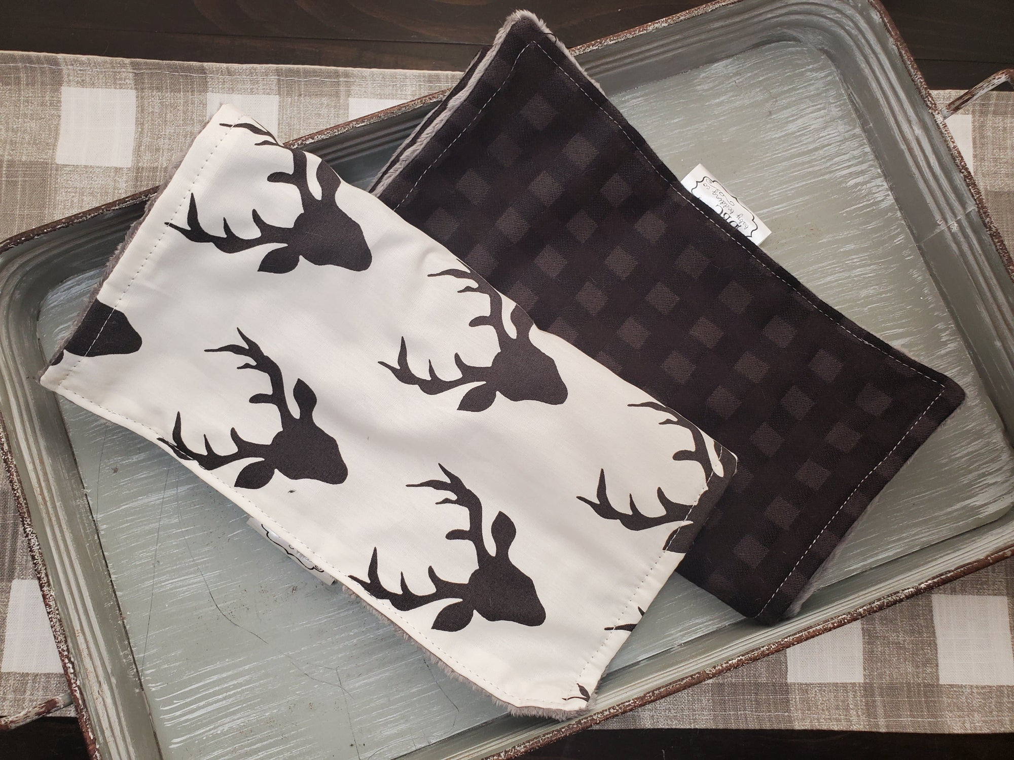 Burp Cloth Set - Black Buck and Black Check
