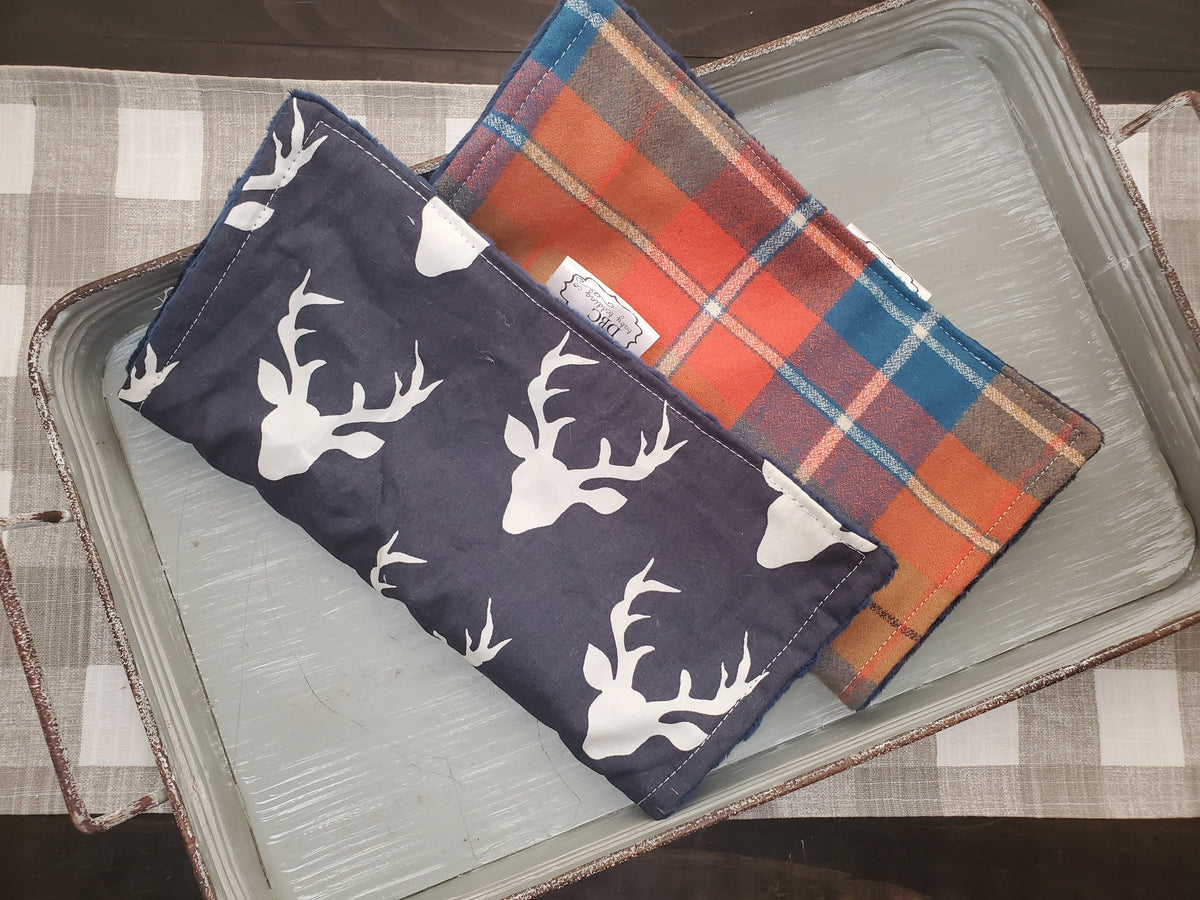 Burp Cloth Set - Navy Buck and Orange Plaid