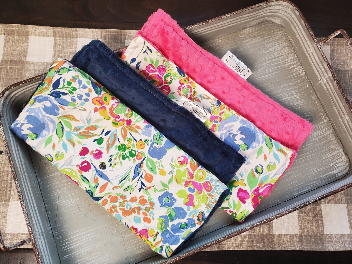 Burp Cloth Set - Indigo and Aster Floral