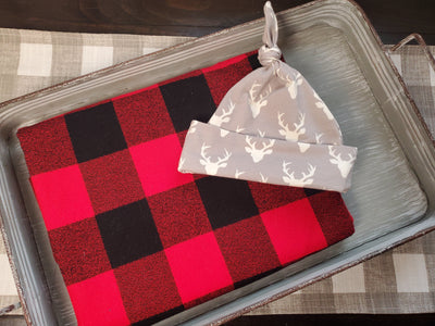 Swaddle Set - Red Black Check and Buck Hat