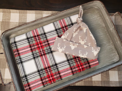 Swaddle Set - White Plaid and Buck Hat