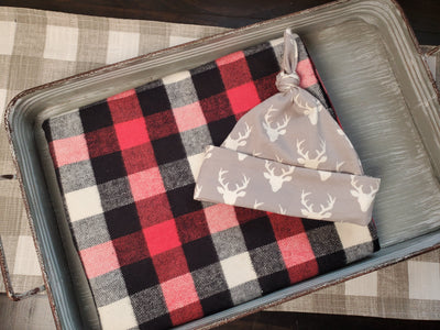 Swaddle Set - Red, Black, White Check and Buck Hat