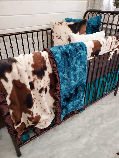 Ready to Ship Girl Crib Bedding- Cow Minky Farm Collection