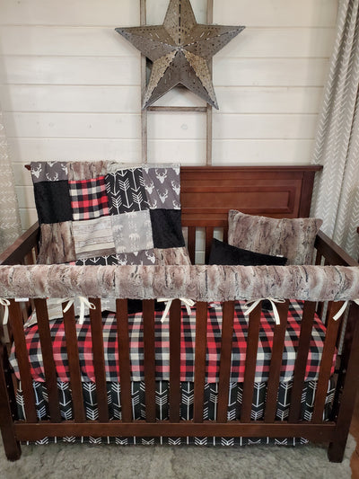 Ready to Ship Boy Crib Bedding- Buck and Mountain Fox Rustic Woodland Collection
