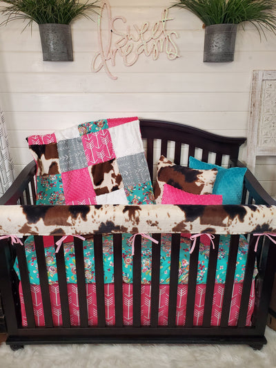 Quick Ship Girl Crib Bedding- Teal Floral and Cow Minky Farm Collection