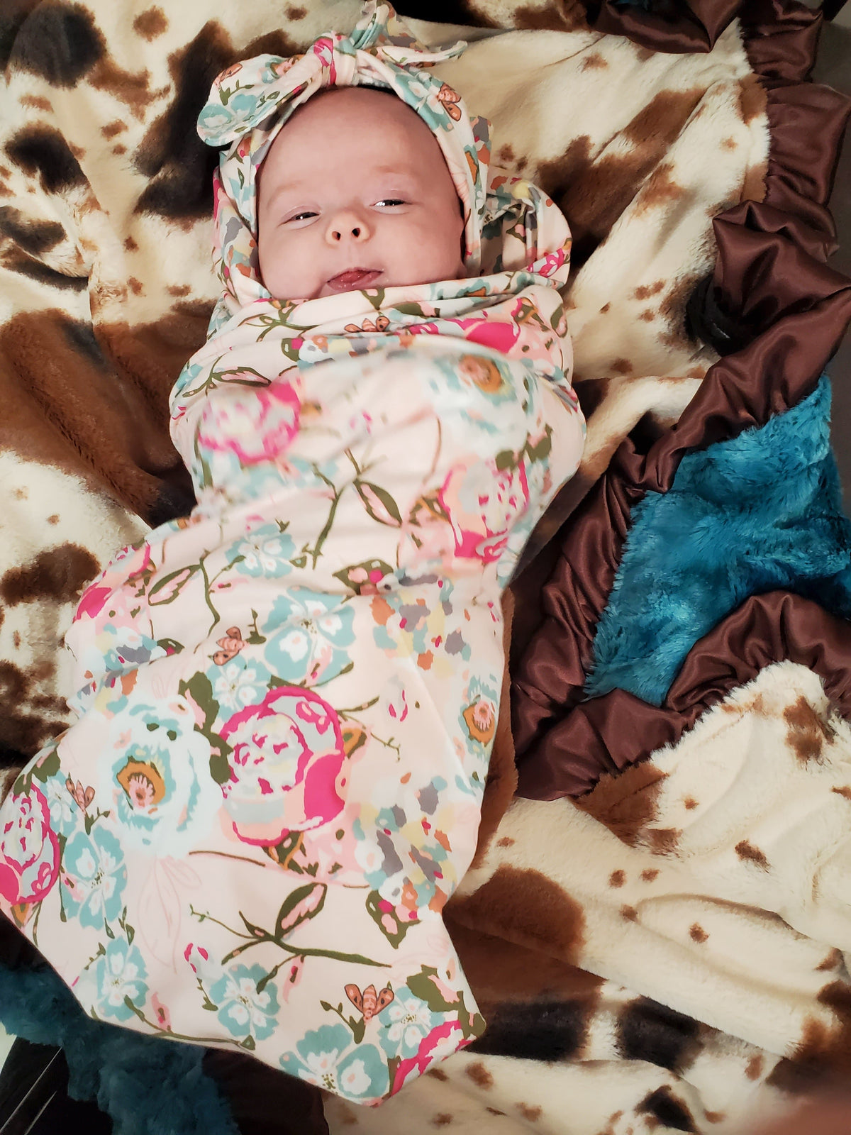 Swaddle Set - Blush Floral with Headband