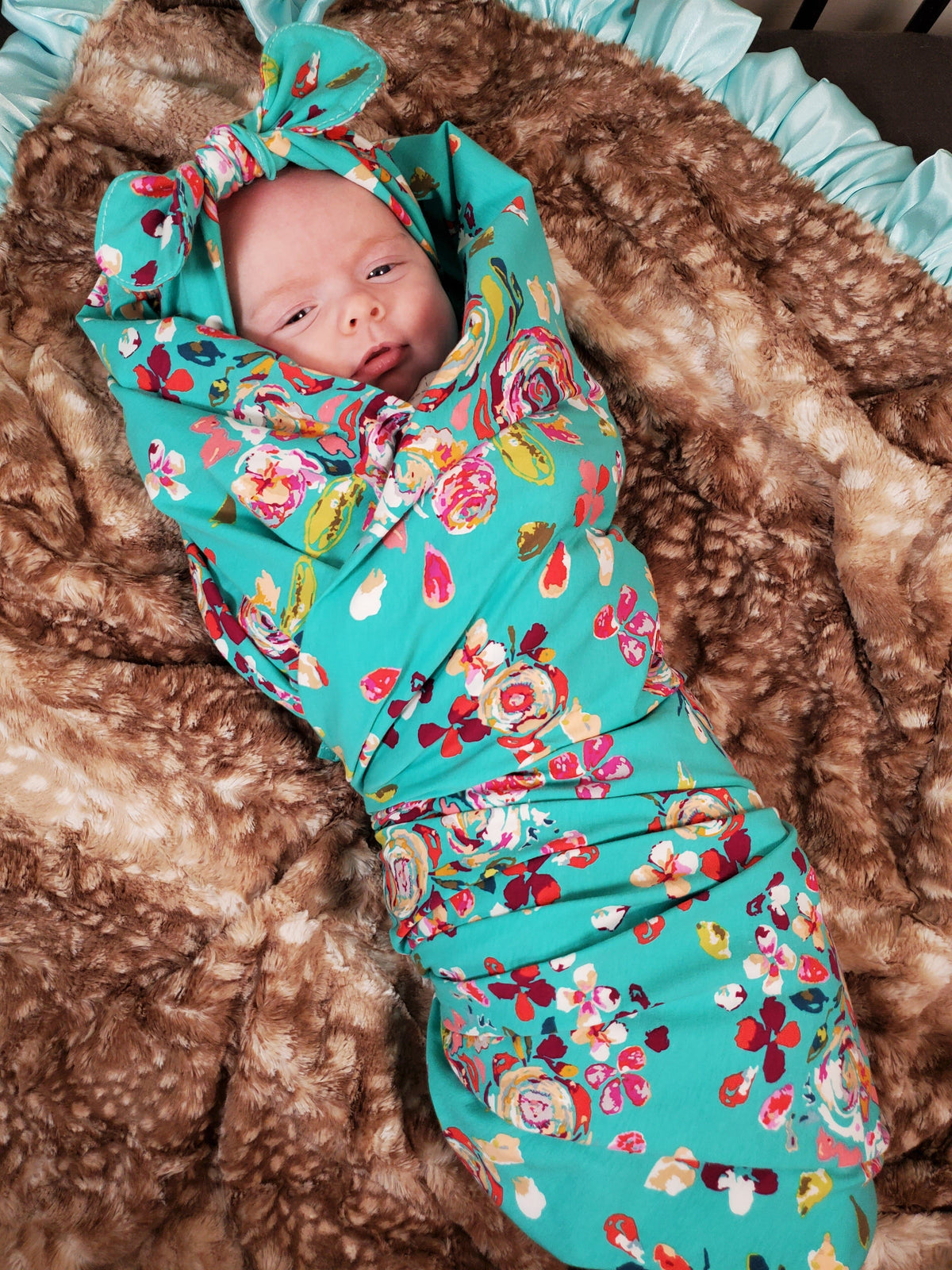 Swaddle Set -Teal Floral with Headband