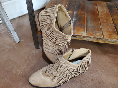 Boots - Fringed Tan Ankle Boots