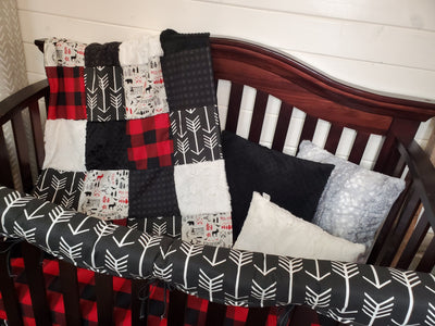 Ready to Ship Boy Crib Bedding- Adventure Woodland Collection