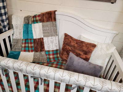 Ready to Ship Neutral Crib Bedding- Arrow and Plaid Woodland Collection