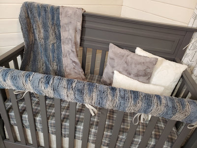 Ready to Ship Boy Crib Bedding- Timber Minky Woodland Collection