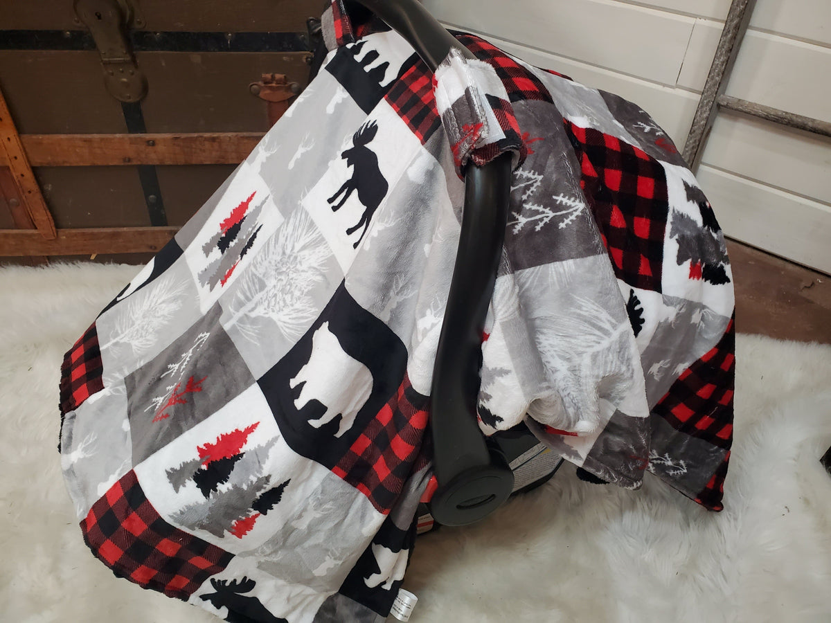 Carseat tent- Woodland in Red and Black with Black minky under