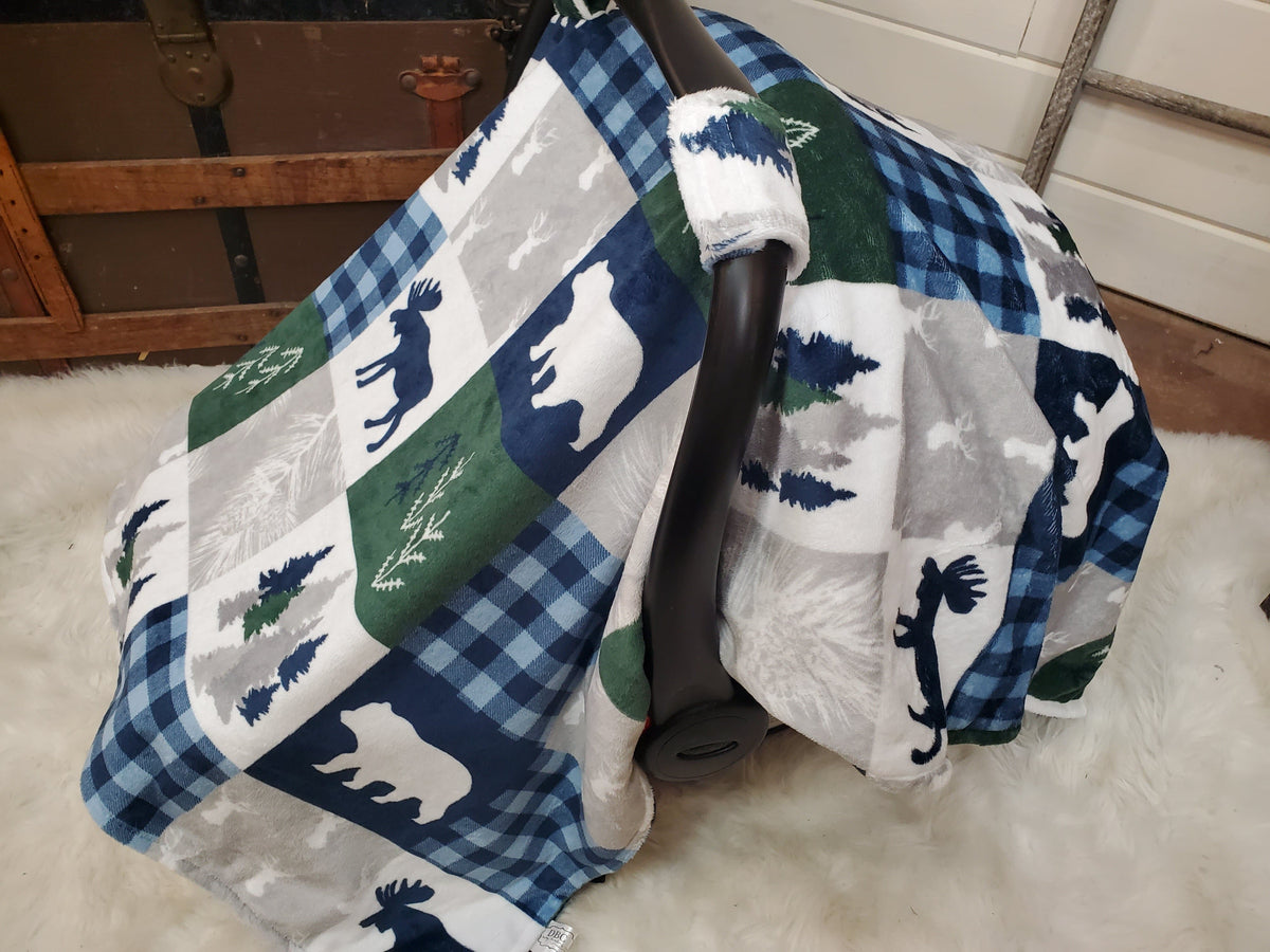 Carseat tent- Woodland in Navy and Green with Navy minky under