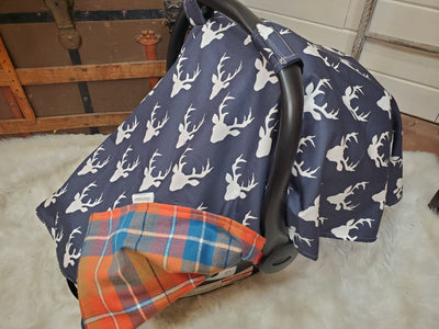 Carseat tent - Buck in Navy with Orange Plaid under