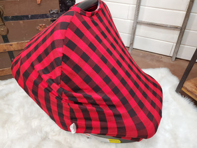 Carseat tent- Red Black Check