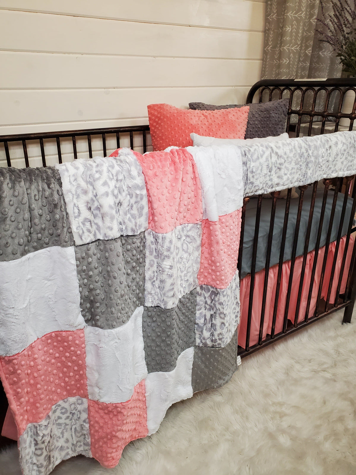 Ready to Ship Girl Crib Bedding- Silver Jaguar and Coral Collection